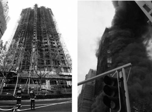 Пожежа на висотній будівлі у м.Шанхаї