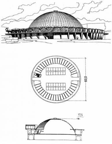 Фасад, план та розріз громадської будівлі