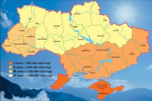 Карта сонячної радіації України