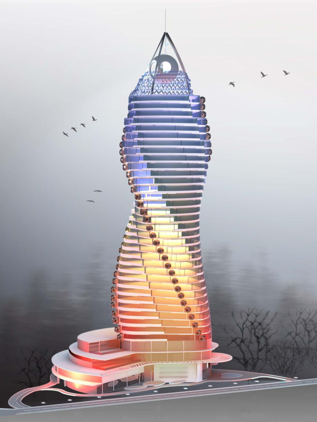 здания многофункционального высотного центра с использованием ветроэнергоустановок